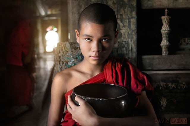 Monk With Bowl At Shwe Yan Pyay Monastery