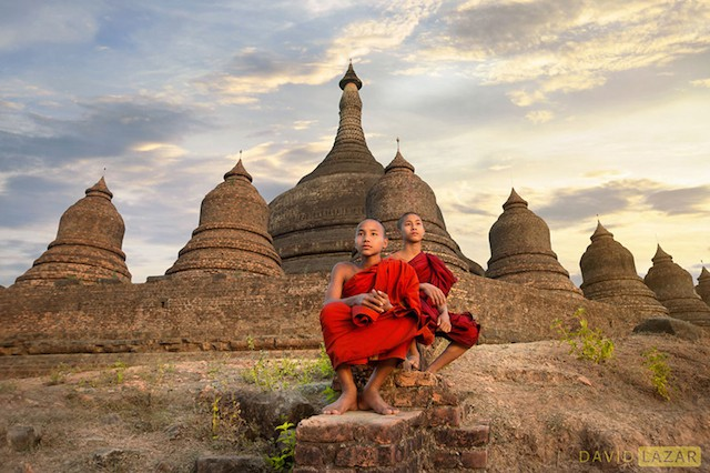 Monks in The Lost City Of Mrauk U