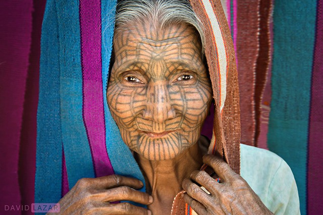 Tattooed Face Chin Tribe Lady