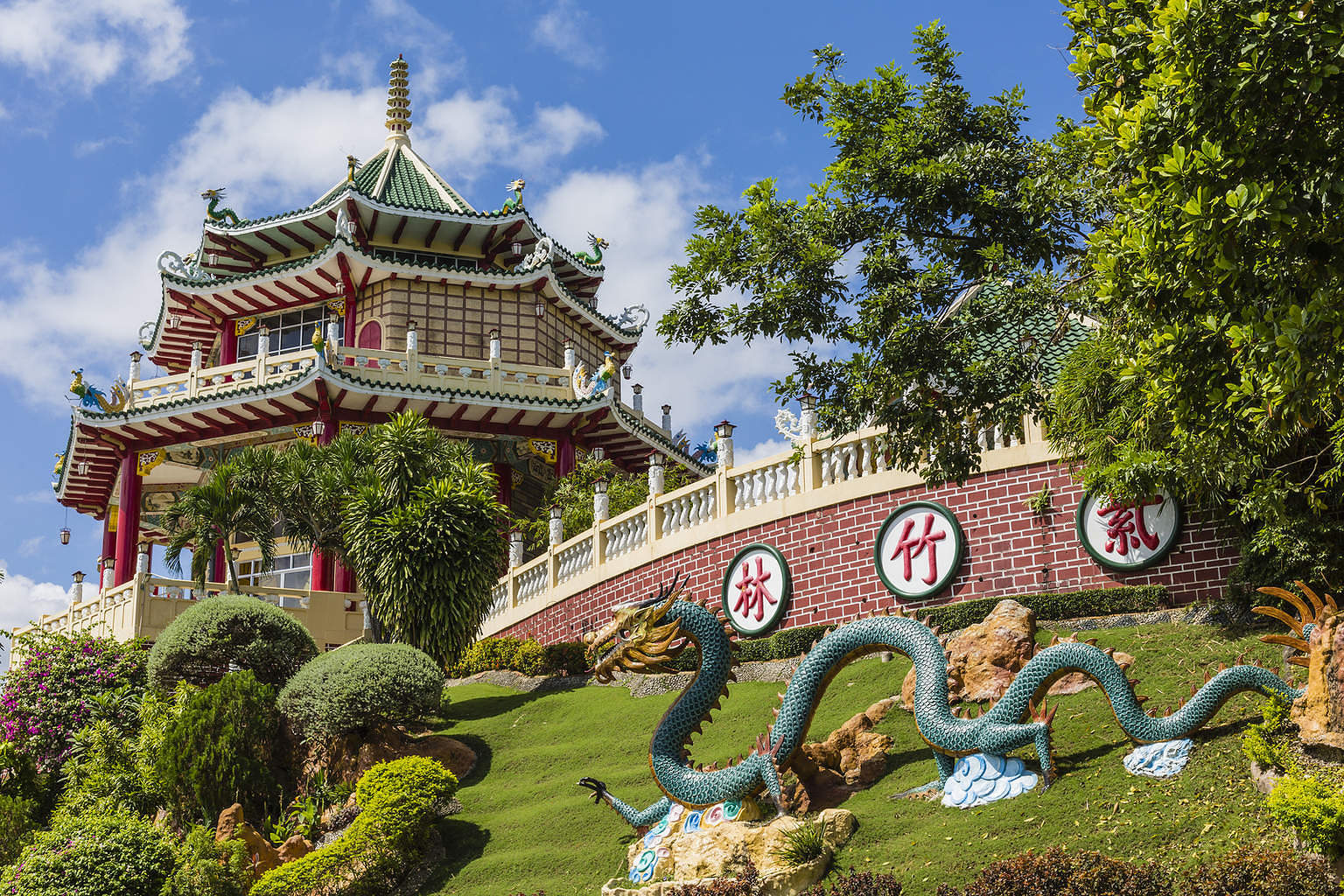 Pagoda And Dragon Sculpture Of The Taoist Temple In Cebu, Philip