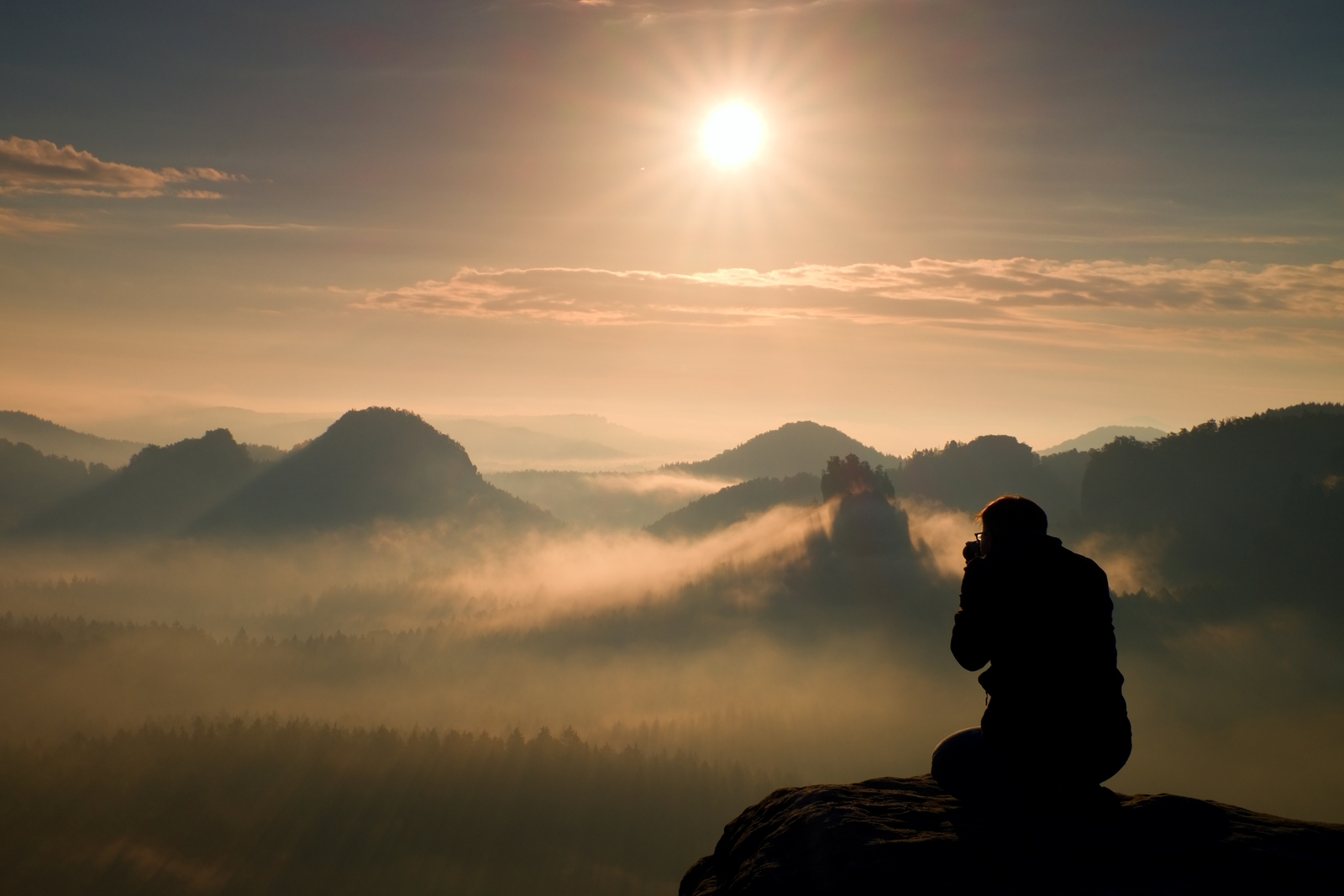 Photograph Takes Photos Of Daybreak Above  Heavy Misty Valley. L