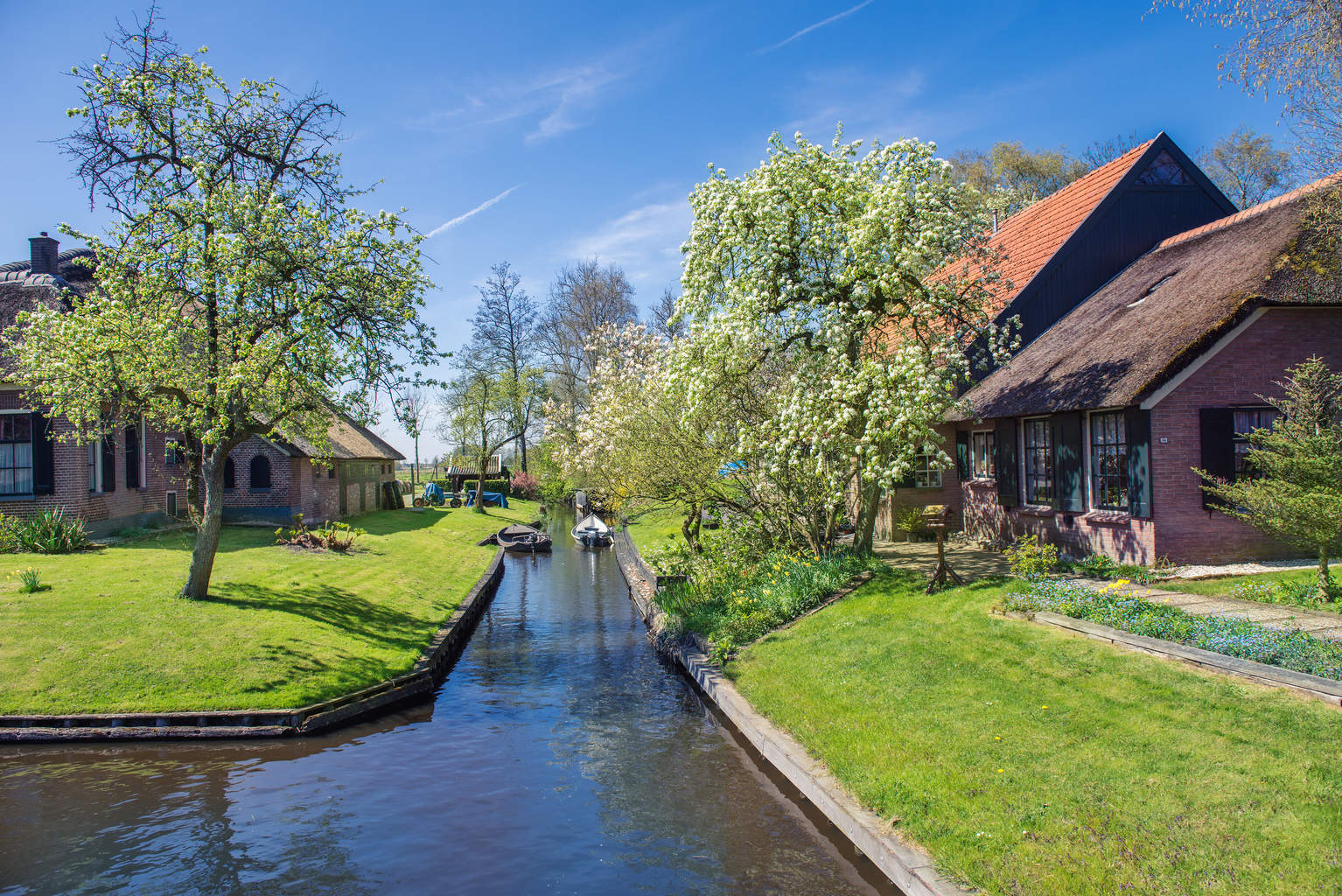 Spring in Giethoorn, a small village in Overijssel province in t