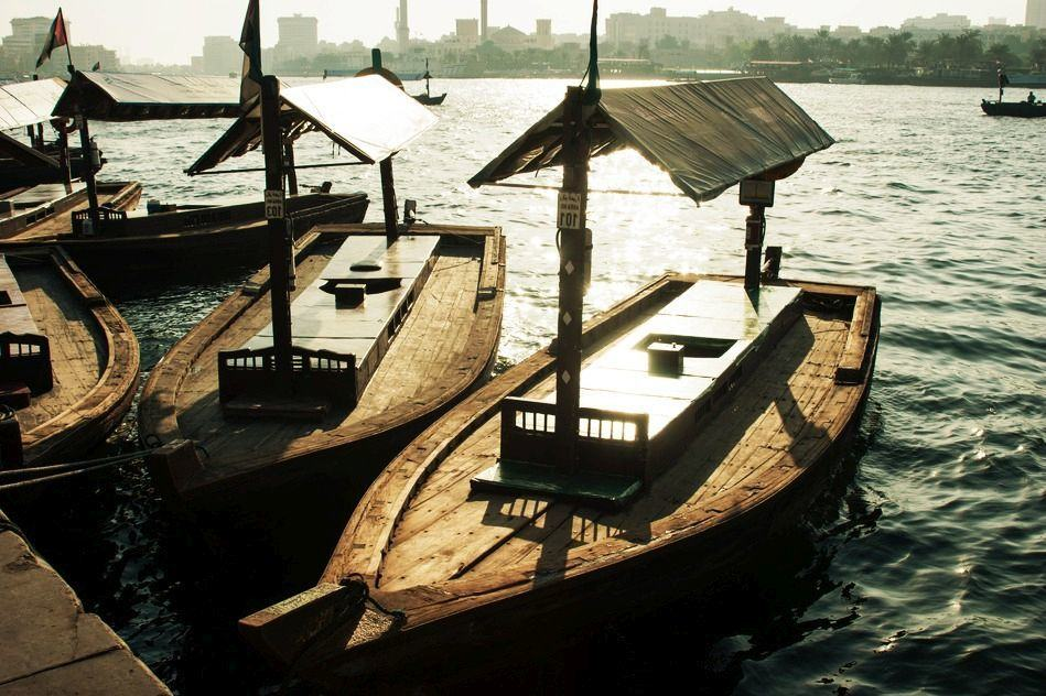 Traditional Abra ferries at the creek in Dubai, United Arab Emirates