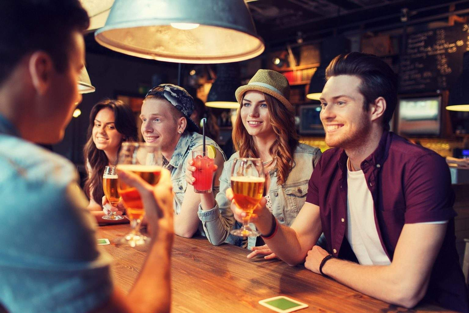 people, leisure, friendship and communication concept – group of