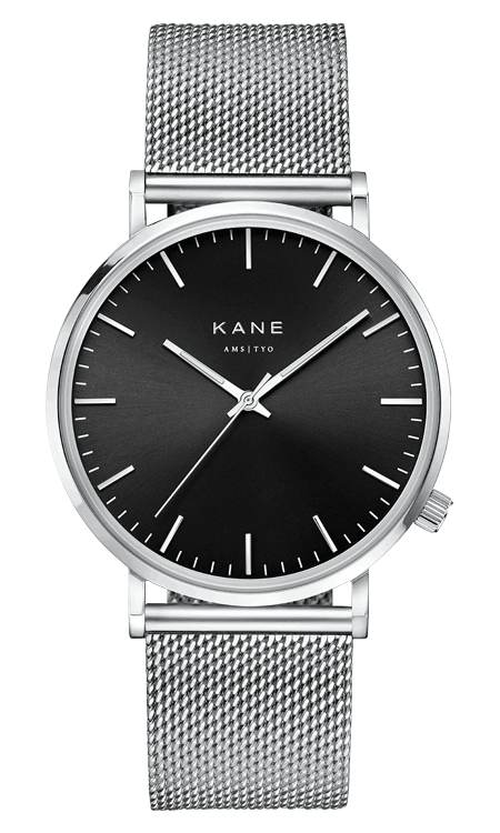 BLKCDE-MSHSLV_front_KANE_Mens_Minimal_Watches_Black_Code_Mesh_Silver_Stainless_Steel_Strap_530x